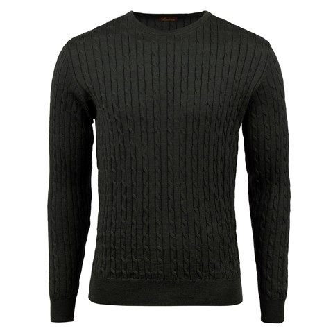 Forest Green Merino Cable Crew Neck