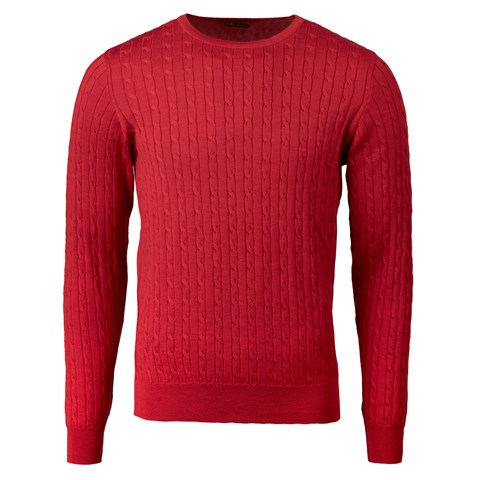 Red Merino Cable Crew Neck