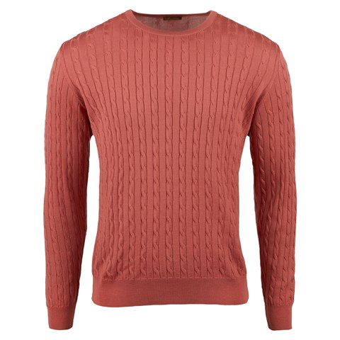 Rose Merino Cable Crew Neck