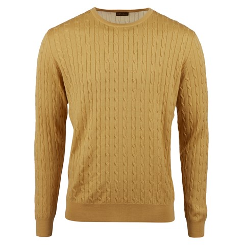 Yellow Merino Cable Crew Neck