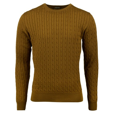 Mustard Cable Crew Neck