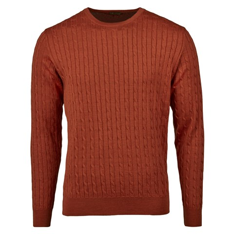 Orange Merino Cable Crew Neck