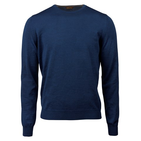 Blue Merino Crew Neck W Patches