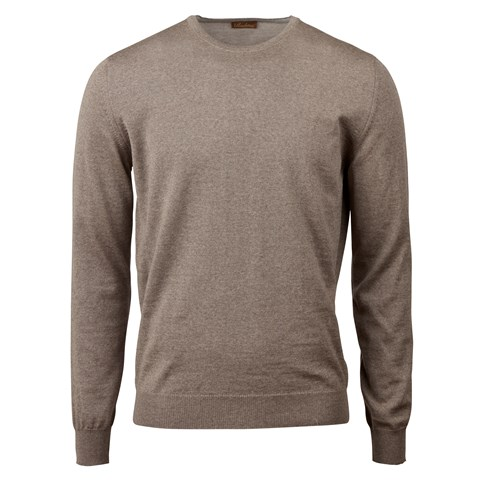Mud Brown Merino Crew Neck With Patches