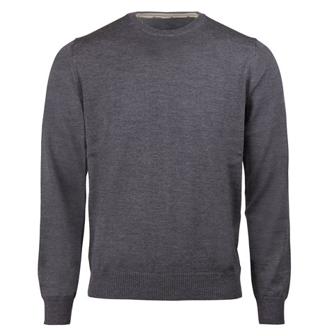 Dark grey merino crew neck with patches