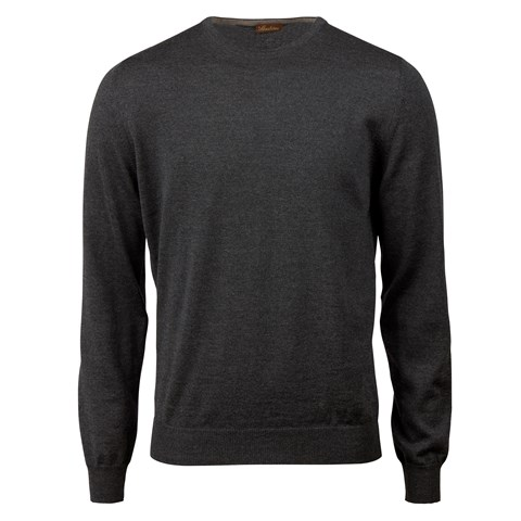 Anthracite Merino Crew Neck With Patches