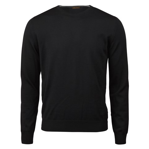Black Merino Crew Neck With Patches