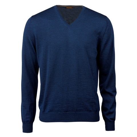 Blue Merino V-Neck With Patches