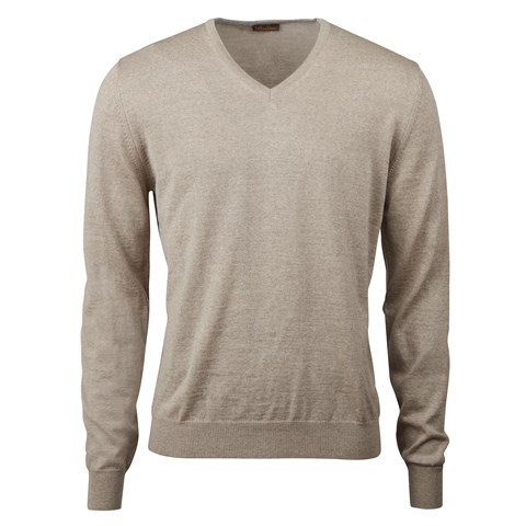 Sand Merino V-Neck With Patches