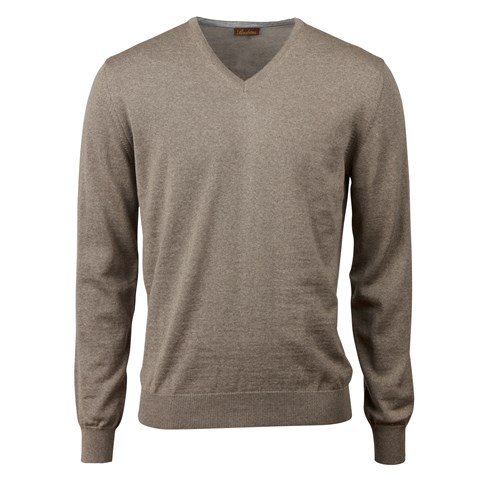 Mud Brown Merino V-Neck With Patches