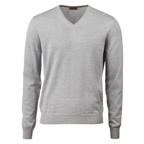 Light Grey Merino V-Neck With Patches