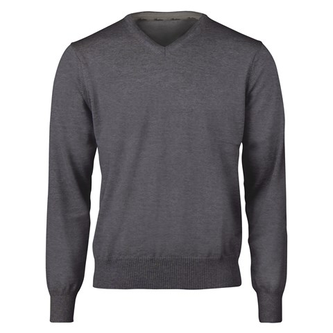 Dark Grey Merino V-Neck With Patches