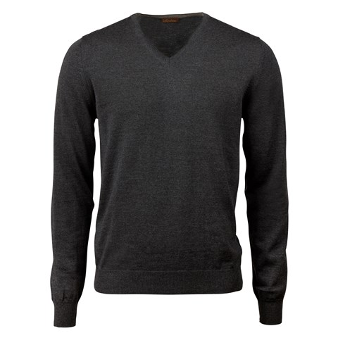 Anthracite Merino V-Neck With Patches