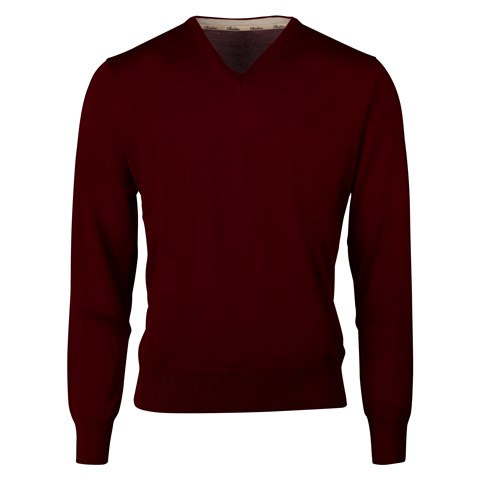 Burgundy Merino V-Neck With Patches