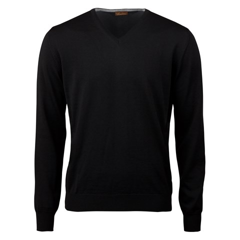 Black Merino V-Neck With Patches