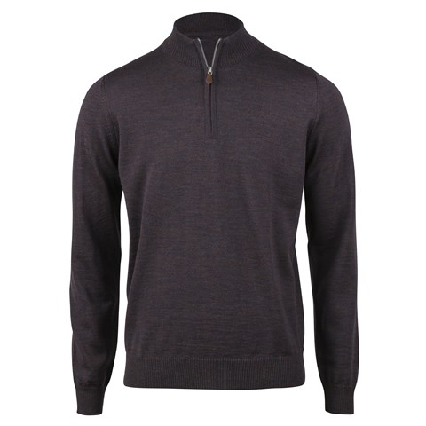 Blue/Brown Merino Half Zip