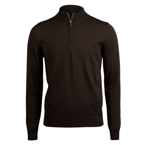Brown Merino Half Zip