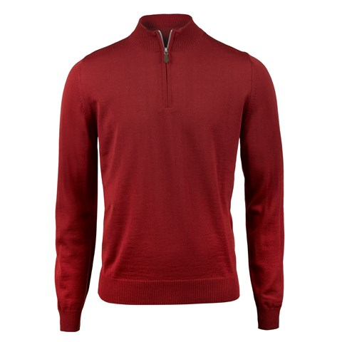 Red Merino Half Zip