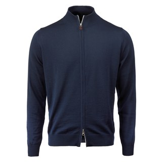 Blue Merino Zip Cardigan