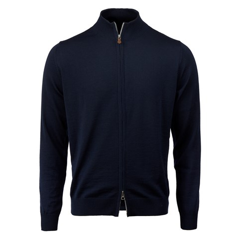 Navy Merino Zip Cardigan