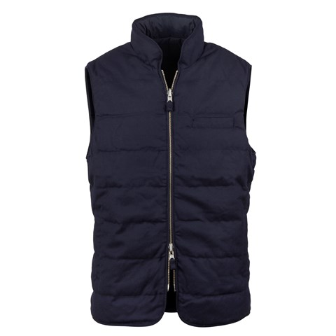Navy Quilted Reversible Wool Vest