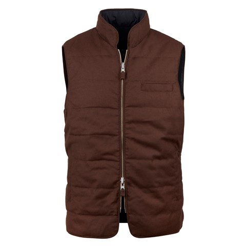 Brown/navy Quilted Reversible Wool Vest
