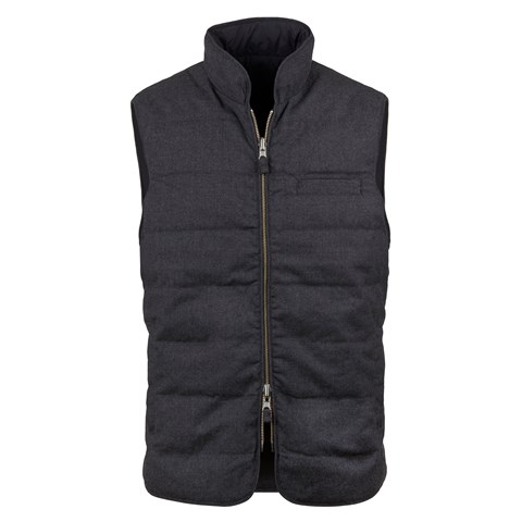 Grey Quilted Reversible Wool Vest