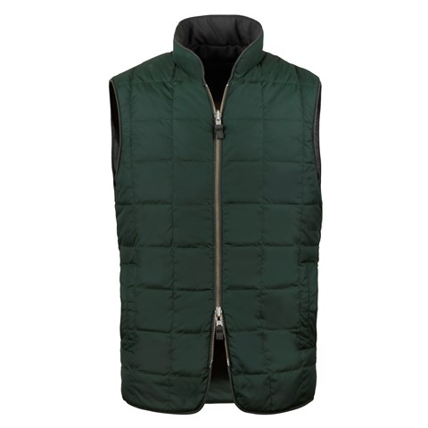 Green Quilted Reversible Wool Vest