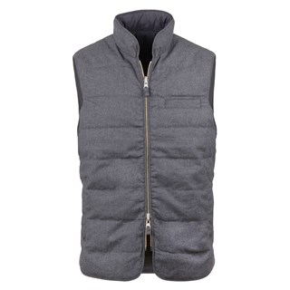 Grey Quilted Reversible Wool/Nylon Vest