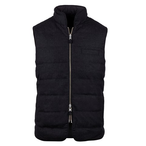 Anthracite Quilted Reversible Wool/Nylon Vest
