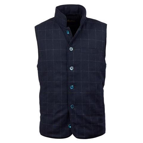 Navy Window Pane Wool Vest