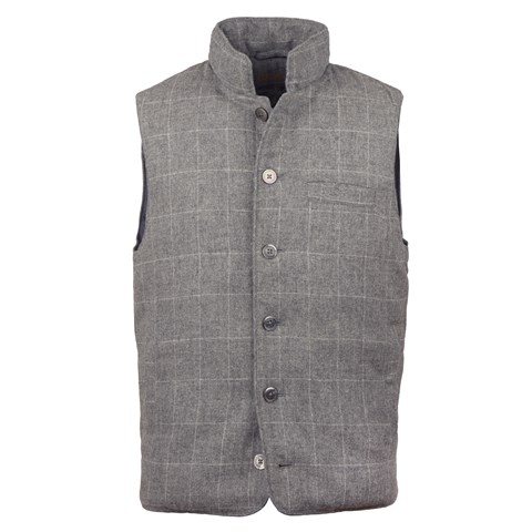 Grey Window Pane Wool Vest