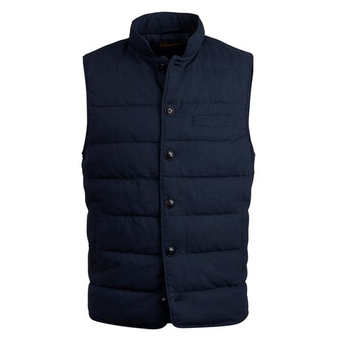 Navy Cotton/Linen Vest