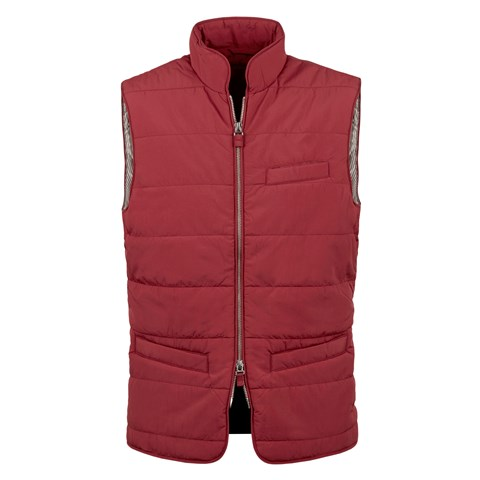 Red Soft Quilted Nylon Vest