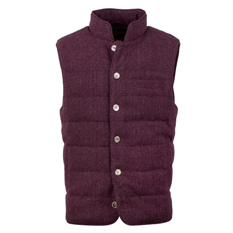 Red Quilted Herringbone Wool Vest