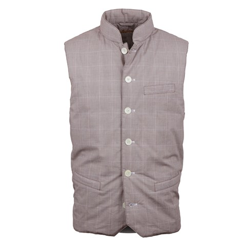 Brown Glen Check Quilted Vest