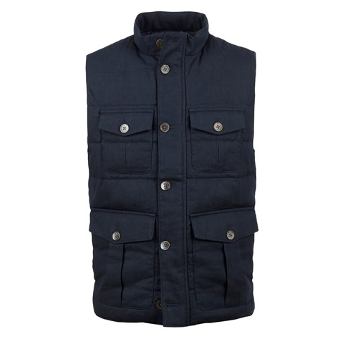 Navy Utility Quilted Linen Vest