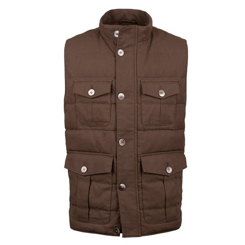 Brown Utility Quilted Linen Vest