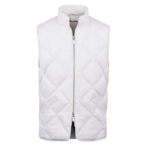 Diagonal Quilted Wool Vest, Off-White