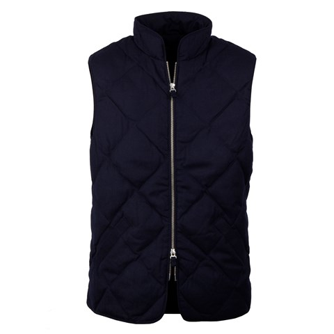 Diagonal Quilted Wool Vest, Navy