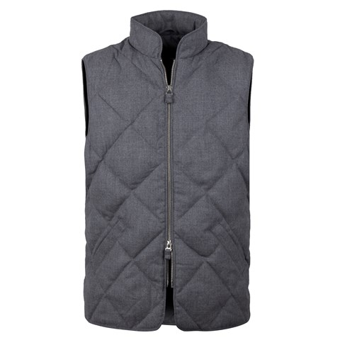 Diagonal Quilted Wool Vest, Grey