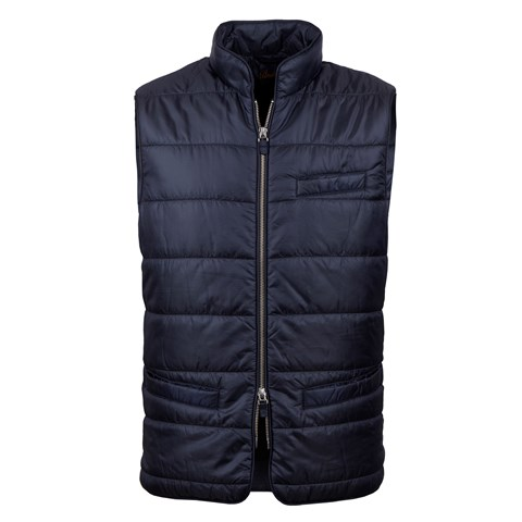 Navy Houndstooth Quilted Nylon Vest