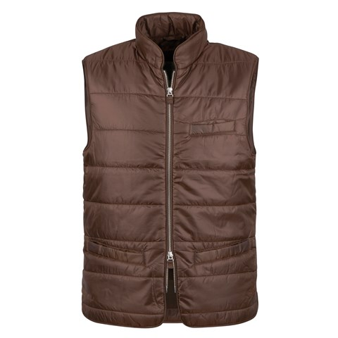 Brown Houndstooth Quilted Nylon Vest
