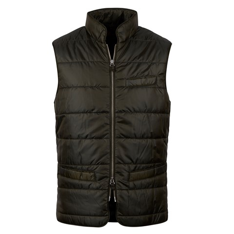 Green Houndstooth Quilted Nylon Vest