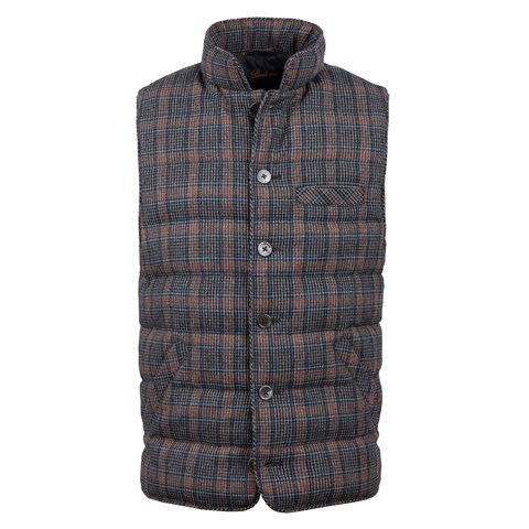 Checked Quilted Wool Vest