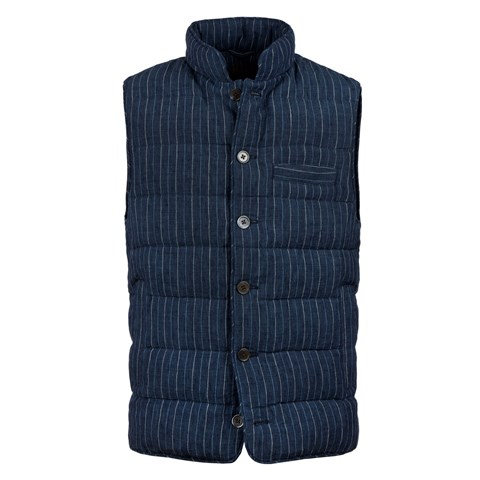 Linen Vest Blue Pin Stripe