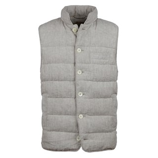 Striped Linen Vest Light Beige