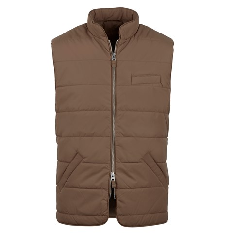 Brown Soft Quilted Nylon Vest