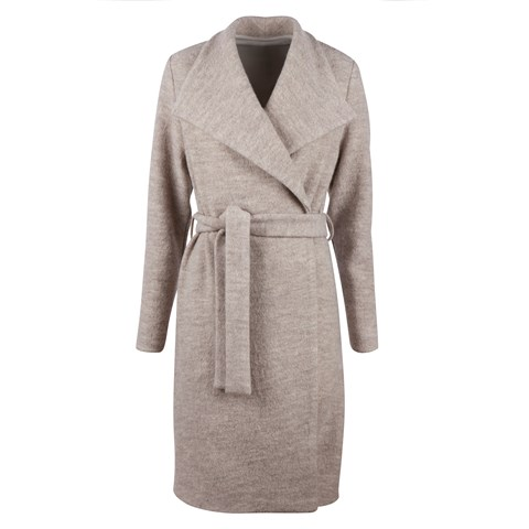 Beige Long wool Coat W Lapels