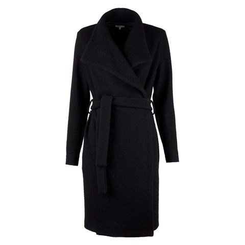 Black Long Wool Coat W Lapels